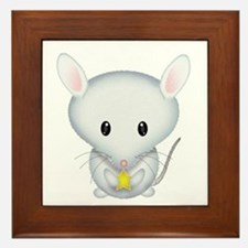Little White Mouse Framed Tile