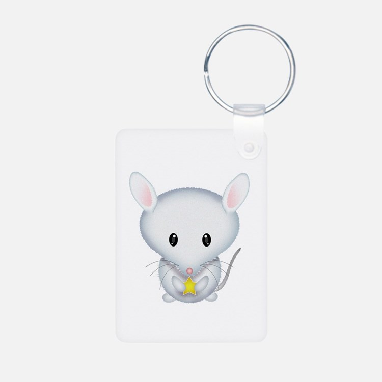Little White Mouse Aluminum Photo Keychain