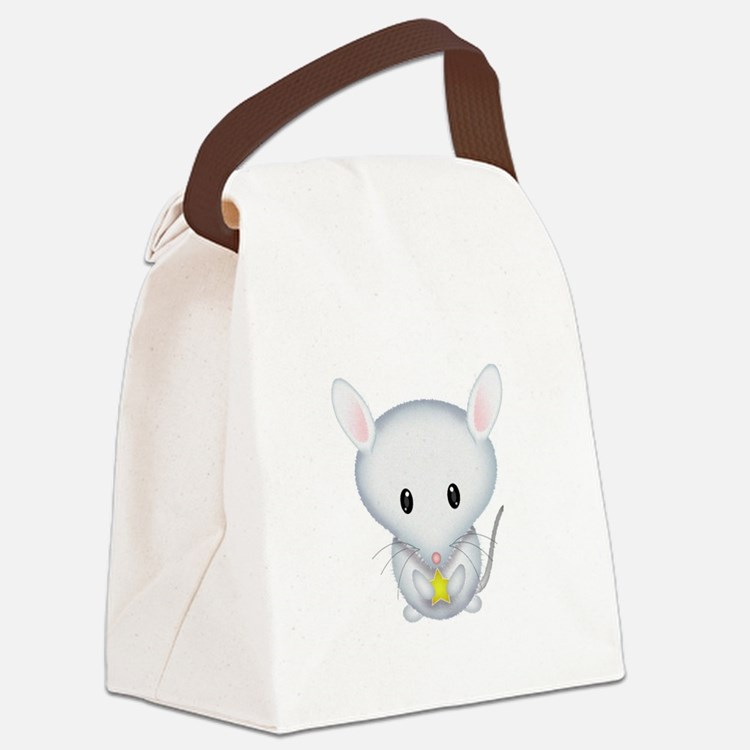 Little White Mouse Canvas Lunch Bag