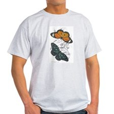 Butterfly Insects (Front) Ash Grey T-Shirt
