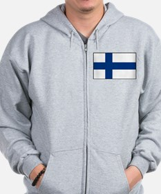 Finland - National Flag - Current Zip Hoodie