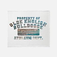 Property of Olde English Bulldogge Throw Blanket