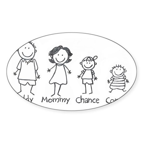 Personalized Stick Figure Family Sticker. Sticker