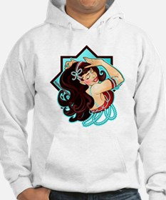 Belly Dancer, Rhinestone Bow, Red/Turquoise Hoodie