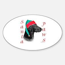 Santa Paws Flat Coat Oval Decal