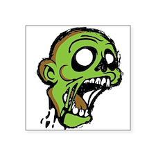 """Zombie Head Square Sticker 3"""" x 3"""""""