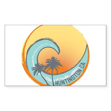 Huntington Beach Sunset Crest Sticker (Rectangle)