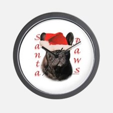 Santa Paws French Bulldog Wall Clock