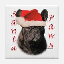 Santa Paws French Bulldog Tile Coaster