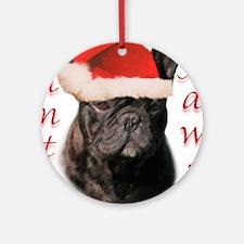 Santa Paws French Bulldog Ornament (Round)