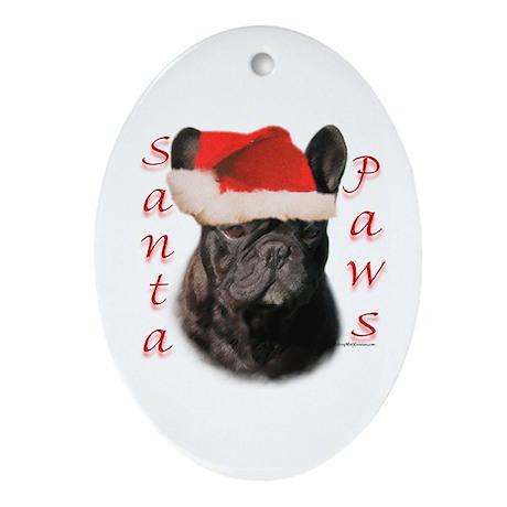 Santa Paws French Bulldog Oval Ornament