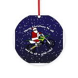 Christmas biking Round Ornaments