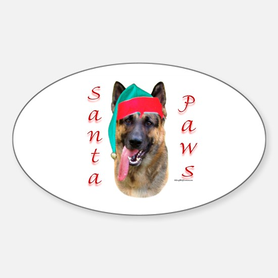 Santa Paws German Shepherd Oval Decal