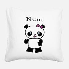 Personalize Panda Girl Square Canvas Pillow