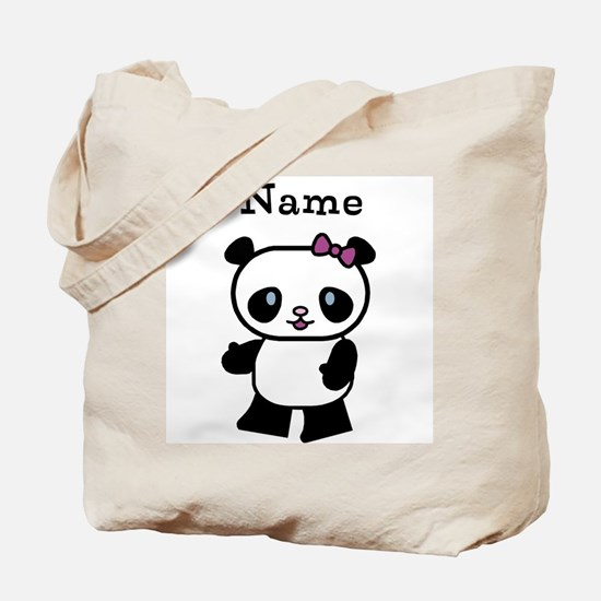 Personalize Panda Girl Tote Bag