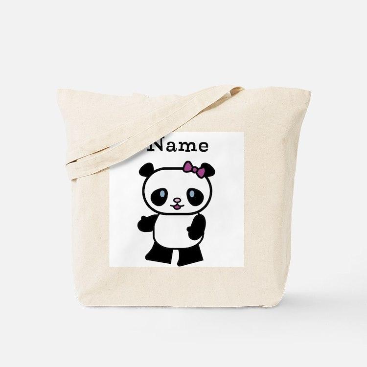 Personalize Panda Girl Tote Bag