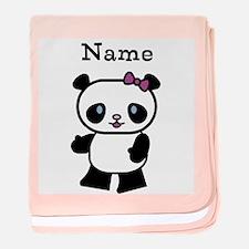 Personalize Panda Girl Baby Blanket