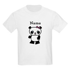Personalize Panda Girl Kids T-Shirt