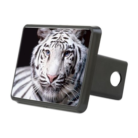 White Bengal Tiger Rectangular Hitch Cover