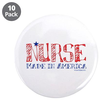 "Nurse made in America 3.5"" Button (10 pack)"