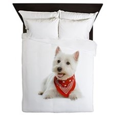 Westie With Red Bandana Queen Duvet