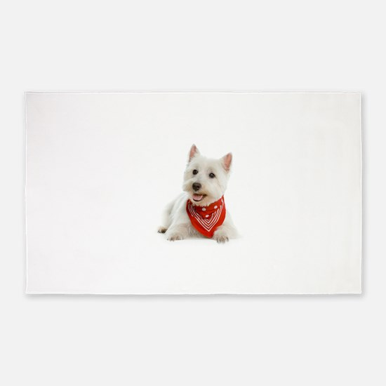 Westie With Red Bandana 3'x5' Area Rug