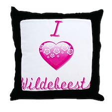 I Love/Heart Wildebeests Throw Pillow