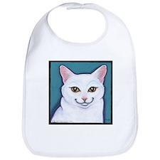 Cat White Bib