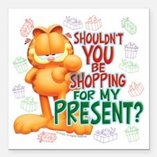 "Shop For My Present? Square Car Magnet 3"" x 3"