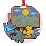 Jigsaw Puzzle Round Ornament