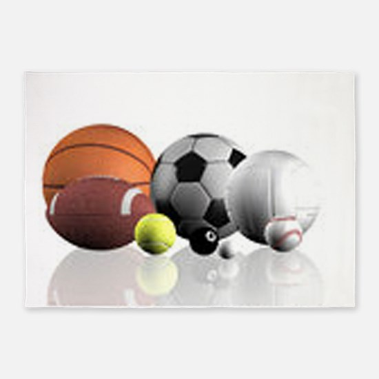 Sports Balls 5'x7'Area Rug