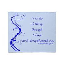 Philippians 4 13 Blue Vines Throw Blanket