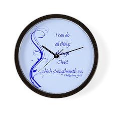 Philippians 4 13 Blue Vines Wall Clock