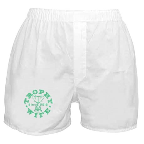 Trophy Wife Since 2013 green Boxer Shorts