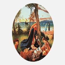 King Arthur in Avalon Oval Ornament