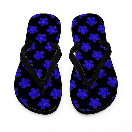 Chic Blue Black Floral Designer Flip Flops