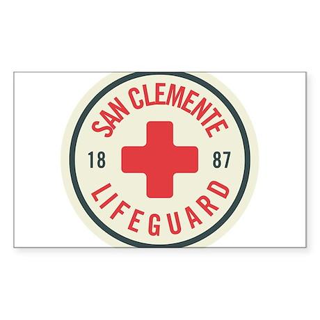 San Clemente Lifeguard Patch Sticker (Rectangle)