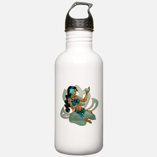 Lotus Belly Dancer Turquoise Water Bottle