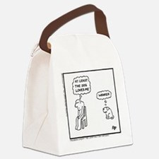 'At Least The Dog Loves Me' Canvas Lunch Bag