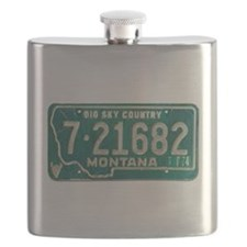 1974 Montana License Plate Flask