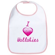 I Love/Heart Wallabies Bib