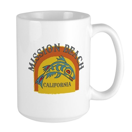 Mission Beach Sunset Fish Large Mug