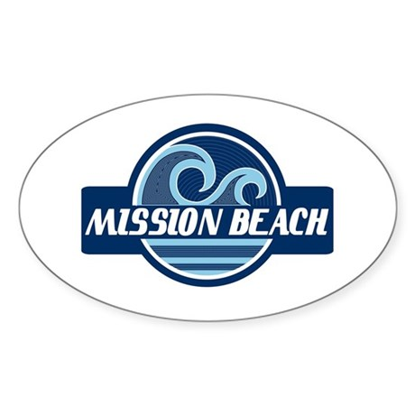 Mission Beach Surfer Pride Sticker (Oval)