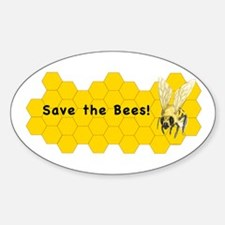Save the Bees! ~ Sticker (Oval)