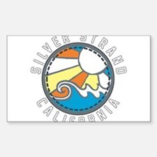 Silver Strand Wave Badge Sticker (Rectangle)