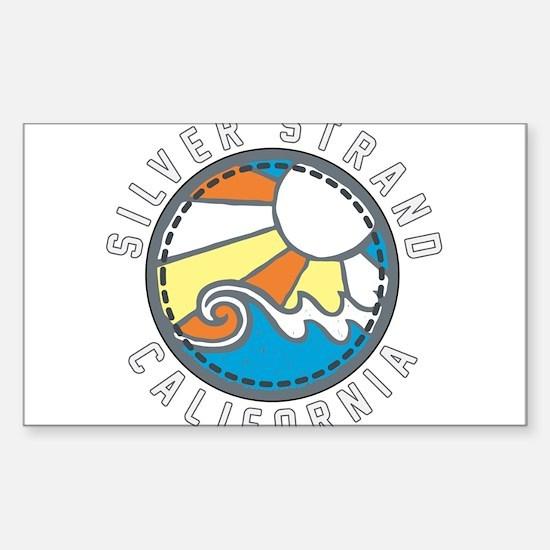 Silver Strand Wave Badge Sticker (Rectangle)