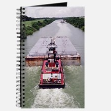 Journal With Towboat and Barge On Canal