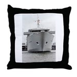 Throw Pillow:Vintage cruise ship at Port of Miami