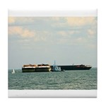 Tile Coaster: towboat and barges Gulf of Mexico