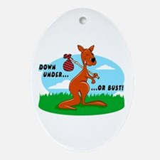 Down Under Or Bust Kangaroo Oval Ornament